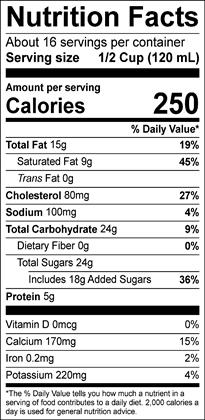 Premium Eggnog Half-Gallon Nutrition Label | Borden Dairy