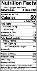 Fiesta Dip Nutrition Label | Borden Dairy