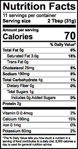 French Onion Dip Nutrition Label | Borden Dairy