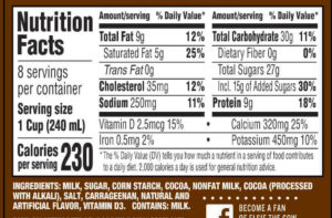 Dutch Chocolate Milk Nutrition Label | Borden Dairy