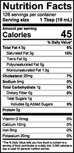 Heavy Whipping Cream Nutrition Label | Borden Dairy