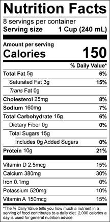 High-Protein 2% Reduced Fat Milk Nutrition Label | Borden Dairy
