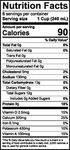 Lactose Free Fat Free Milk Nutrition Label | Borden Dairy