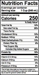Strawberry Milk Nutrition Label | Borden Dairy