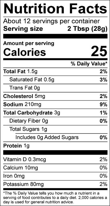 Original Creamy Salsa Dip Nutrition Label | Borden Dairy