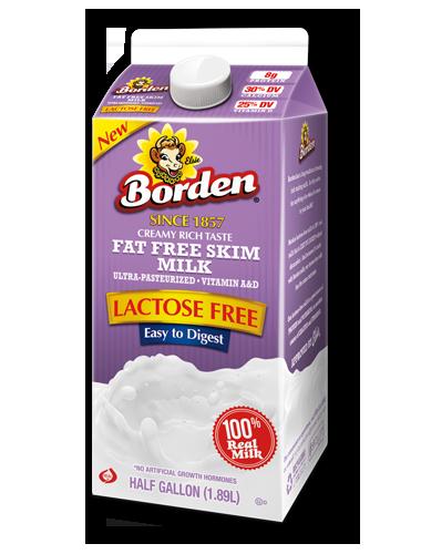 Lactose Free Fat Free Milk Borden Dairy