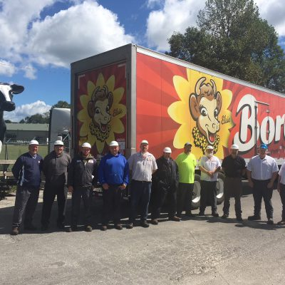 Borden employees in London, KY get ready to send off the truck for a milk delivery to Wilmington, NC hurricane victims and first responders.