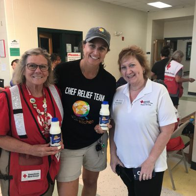 World Central Kitchen shares the Borden milk with some of the first responders and volunteers from the American Red Cross