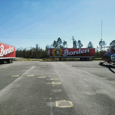 Borden trucks stage on the front line in Panama City, Fla.